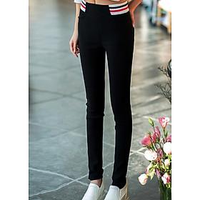 Quần legging nữ thời Hàn Quốc trang sọc ngang eo độc đáo 110-Đen