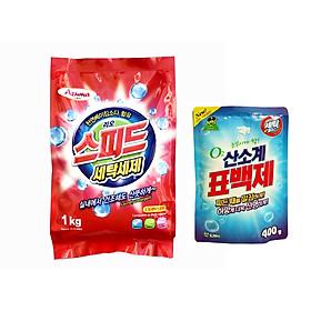Bột giặt AZUMA SpeepUp hương gió biển 1kg tặng 1 bột giặt phụ trợ tẩy vết bẩn khử khuẩn quần áo Hàn Quốc 400g