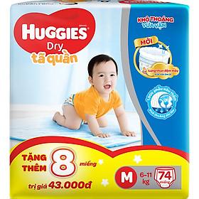 Tã Quần Huggies Dry Pants Super Jumbo M74 (6 - 11 kg) - Gói 74 Miếng - [Tặng Thêm 8 Miếng Mỗi Gói ]-0