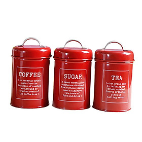Canister Set Beautiful Canisters for Kitchen Counter, Food Storage Container, Tea Coffee Sugar Canisters, 3pcs/set