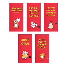 Bao Lì Xì SDstationery - Chúc chuẩn dzui - con thú vui nhộn - màu đỏ (bộ 5 cái)