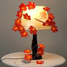 Dây đèn led lá phong - Dây lá phong nhân tạo gắn đèn trang trí phòng ngủ, quán cafe, nhà hàng,... độc đáo (tặng pin tiểu AA)