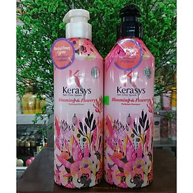 Dầu xả nước hoa KeraSys Blooming& flowery - Hương tuyết tùng và linh lan Hàn Quốc 600ml tặng kèm móc khoá-3