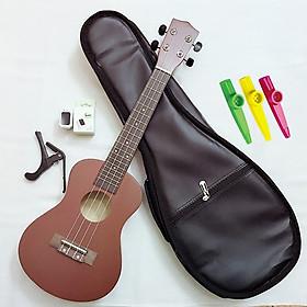 Combo Đàn Ukulele Concert Woim 33A19 tặng kèm bao da, máy lên dây, capo và 01 kèn Kazoo màu ngẫu nhiên
