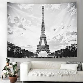 Tranh vải decor không gian phòng phong cách Châu Âu có đèn LED mẫu tháp Eiffel