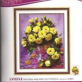 Tranh thêu chữ thập Bình hoa Hồng Vàng (43x51cm) chưa thêu