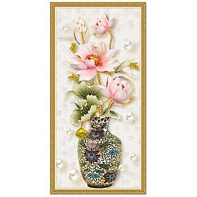 Decal bình hoa sen hồng trang trí LV-0222