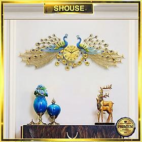 Đồng Hồ Treo Tường Trang Trí Đẹp Con Công S-A999 chim khổng tước độc lạ 3d cỡ lớn nghệ thuật phù hợp cho phòng khách, phòng ngủ