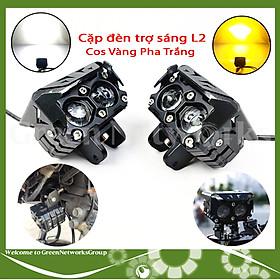 Đèn trợ sáng L2 36W cos vàng pha trắng gắn moto xe máy Green Networks Group ( 1 cặp )