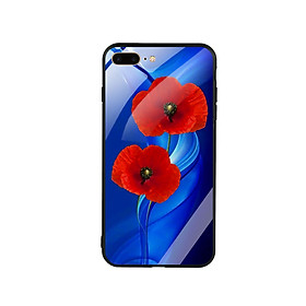 Ốp Lưng Kính Cường Lực cho điện thoại Iphone 7 Plus/ 8 Plus - Hoa Anh Túc