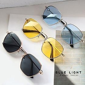 Kính Râm, Kính Mát Nam Nữ Mắt Màu Xanh Dương, Vàng, Tráng Gương Bạc, Đen Mắt Vuông Hàn Quốc - BLUE LIGHT SHOP
