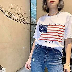 Áo Thun Nam nữ Họa Tiết lá Cờ Mỹ - USA , Mẫu Áo hot năm 2020, hàng xuất dư cotton 100%