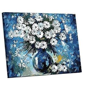 Tranh sơn dầu số hóa tự tô đã căn khung 40x50cm- E107 Bình hoa cúc trắng