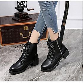 Giày boot nữ đế vuông cá tính cao 5cm khóa kéo kết hợp cột dây cá tính B145