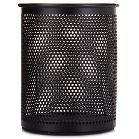 Miki (SUNWOOD) 1202 metal mesh series round pen holder / storage tube / multi-functional pen holder - black