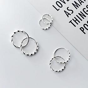 Khuyên tai bông tai Hoàn xu bạc nữ s925 vòng tròn xoắn basic