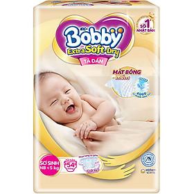 Tã Dán Cao Cấp Bobby Extra Soft Dry Mặt Bông Siêu Thấm Hút XS54 (54 Miếng)