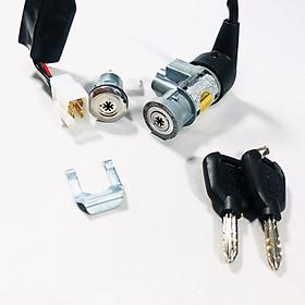 Bộ ổ khoá 8 cạnh gồm khóa yên và khóa xe cho Wave s110 (wave nhỏ)