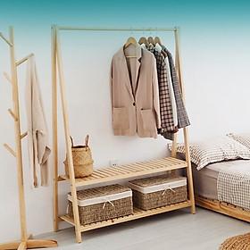 Giá treo quần áo bằng gỗ 2 tầng - Gỗ thông Mỹ