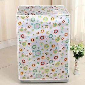 Vỏ Bọc Máy Giặt Áo Trùm Máy Giặt PVC Chống Nước Chống Bụi Cửa Ngang, Cửa Trước Cửa Hông Họa Tiết Hình Tròn Dùng cho máy giặt 7-8.5kg Tặng kèm bóng giặt