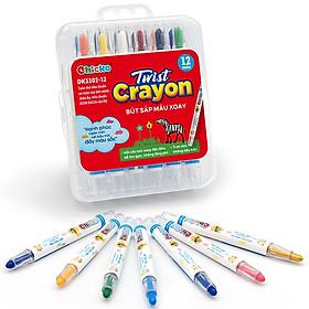 Bút Sáp Màu Xoay Chicko Cho Bé - 12 Màu (Hộp Nhựa Pp)