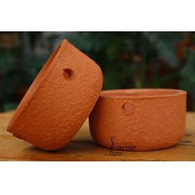Chậu TREO trồng cây gốm đất nung (terracotta) DÁNG NỒI, HOA VĂN  HOA HỒNG W12xH6 - gốm sứ sân vườn Bình Dương