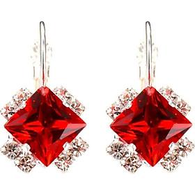 Đôi khuyên tai mặt đá quý nhân tạo hình vuông đẹp mắt thời trang và sang trọng