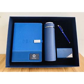 Bộ quà tặng cao cấp sổ sạc đa năng có sạc không dây, usb, bình nước, bút ký, hộp card làm logo riêng theo yêu cầu