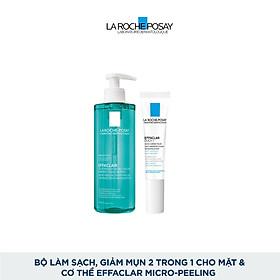 Bộ Gel rửa mặt và tắm giúp làm sạch bã nhờn,giảm mụn & thâm sẹo La Roche-Posay Effaclar Micro-Peeling Purifying Gel