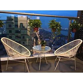 Bộ bàn ghế dây văng ban công, cafe -DV001 - Màu Trắng