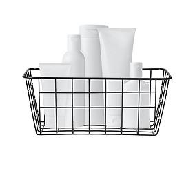 Iron Storage Basket Wall Mounted Storage Organizer Wire Hanging Basket Bathroom Shelf for Bedroom Bathroom Laundry Room