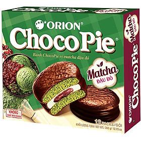 Bánh Chocopie Orion Vị Matcha Đậu Đỏ (Hộp 12 Gói)