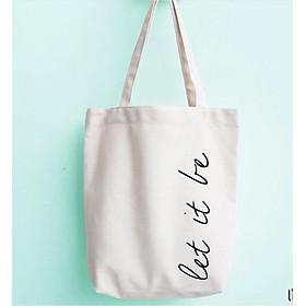 Túi tote vải siêu đẹp ve chữ let it be