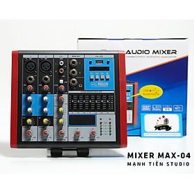 Bàn trộn âm thanh mixer max 04 – 4 kênh âm thanh nổi – Tích hợp bộ cân bằng Equalizer chuyên nghiệp – Kết nối dễ dàng với bluetooth – Mixer chuyên dùng cho loa kéo, dàn karaoke gia đình, thu âm, livestream – Hàng nhập khẩu