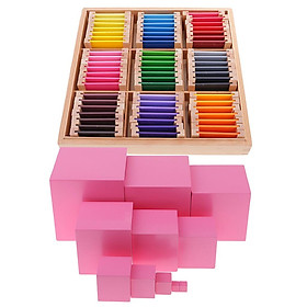Montessori Wooden Building Pink Tower Blocks + Color Learning Box for Kids Educational Toy - intl