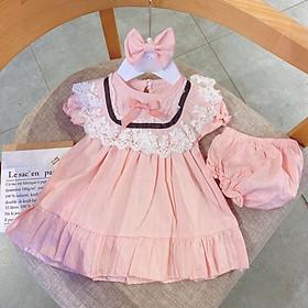Sét váy 3 chi tiết váy +chíp +tuban cho bé