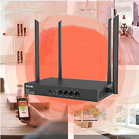 Bộ Phát WIFI Router mạng Tenda W15e Ac1200mps sử dụng cho công ty, nhà xưởng,quán cafe,...vùng phủ sóng 300m2 4 ăn ten phát sóng cực mạnh - chính hãng