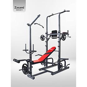 Giàn tạ đa năng kết hợp xà đơn xà kép Zasami 8211 - Kèm 54kg tạ gang , đòn tạ 1m5, 1 găng tay tập tạ