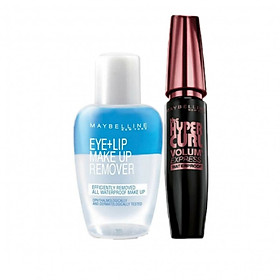 Combo Mascara Maybelline Volum' Express Hyper Curl (9.2ml) Và Nước Tẩy Trang Mắt Môi Maybelline – 40ml-0
