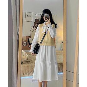 Váy Vintage Phối Nơ Siêu Xinh - DA02