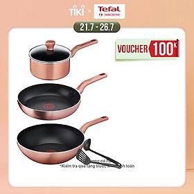Bộ nồi chảo Tefal Cook & Shine 5 món gồm Chảo chiên 24 cm, Chảo xào 28cm, Quánh 18cm, Sạn và Vá - Hàng chính hãng