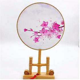 Quạt tròn cổ trang đào hồng phong cách Trung quốc bộ sưu tầm quạt tròn quạt trúc cầm tay in hoa trang trí tặng ảnh thiết kế Vcone