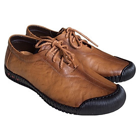 Giày mọi nam cột dây Trường Hải màu đen bò da bò thật cao cấp không bong tróc đế cao su chống mòn không trơn GMTH01277