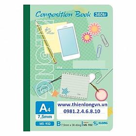 Sổ may dán gáy A4 - 360 trang; Klong 932 bìa xanh lá