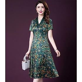 Đầm quý bà lụa Cao Cấp Sang Trọng - HATI DN9046