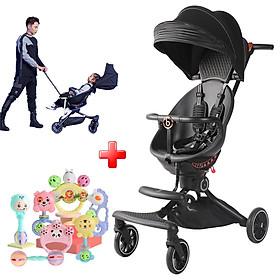 Xe đẩy 2 chiều ( mẫu V8 ) 2 tư thế ngồi và ngả điều chỉnh linh hoạt xoay 360 độ cho bé, xe nôi trẻ em gấp gọn có mái che nắng - Tặng kèm bộ đồ chơi lục lạc 7 món siêu ngộ nghĩnh cho bé.