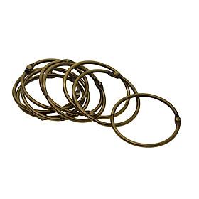 10 Pieces Round Shape Metal Paper Photo Album Book Loose Leaf Hinged Binder Ring Key Ring Keychain DIY Craft, Diameter 73mm