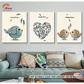 Bộ tranh sơn dầu số hoá tự tô màu DIY trang trí đơn giản hiện đại - Mã SV1026S Chim tình yêu Love and Dream