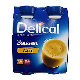Delical vị Cafe có đường - sữa dinh dưỡng cao năng lượng vỉ 4 chai