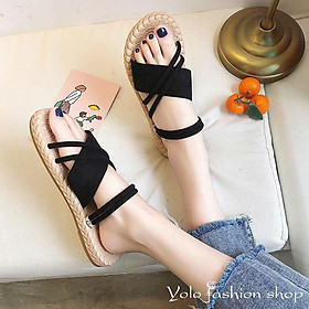CS4_Dép nữ sandal quai chéo đế giả cói vintage siêu mềm êm chân